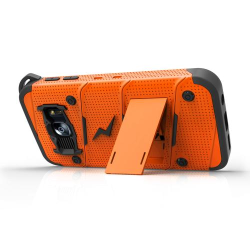 Samsung Galaxy S7 Case - [BOLT] Heavy Duty Cover w/ Kickstand, Holster, Tempered Glass Screen Protector & Lanyard [Orange/ Black]