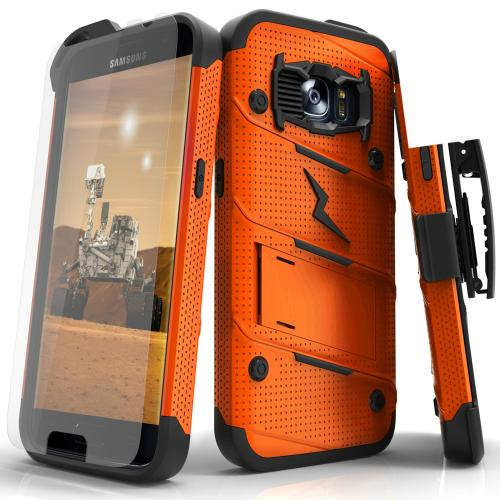 [Samsung Galaxy S7] Case - [BOLT] Heavy Duty Cover w/ Kickstand, Holster, Tempered Glass Screen Protector & Lanyard [Orange/ Black]