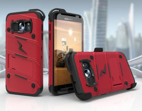 Samsung Galaxy S7 Case - [BOLT] Heavy Duty Cover w/ Kickstand, Holster, Tempered Glass Screen Protector & Lanyard [Red/ Black]