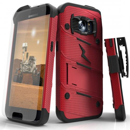 [Samsung Galaxy S7] Case - [BOLT] Heavy Duty Cover w/ Kickstand, Holster, Tempered Glass Screen Protector & Lanyard [Red/ Black]
