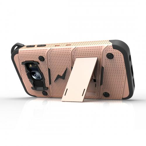[Samsung Galaxy S7] Case - [BOLT] Heavy Duty Cover w/ Kickstand, Holster, Tempered Glass Screen Protector & Lanyard [Rose Gold]