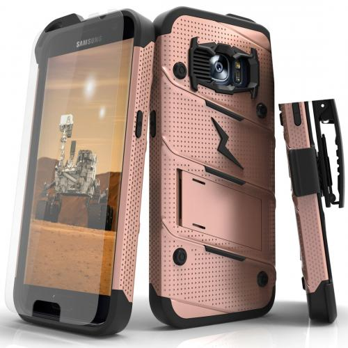 Samsung Galaxy S7 Case - [BOLT] Heavy Duty Cover w/ Kickstand, Holster, Tempered Glass Screen Protector & Lanyard [Rose Gold]