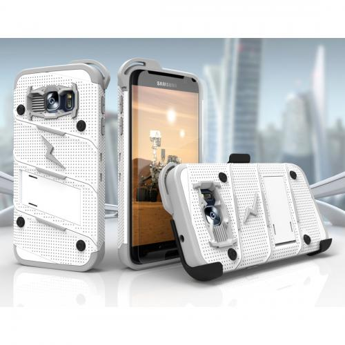 [Samsung Galaxy S7] Case - [BOLT] Heavy Duty Cover w/ Kickstand, Holster, Tempered Glass Screen Protector & Lanyard [White/Gray]