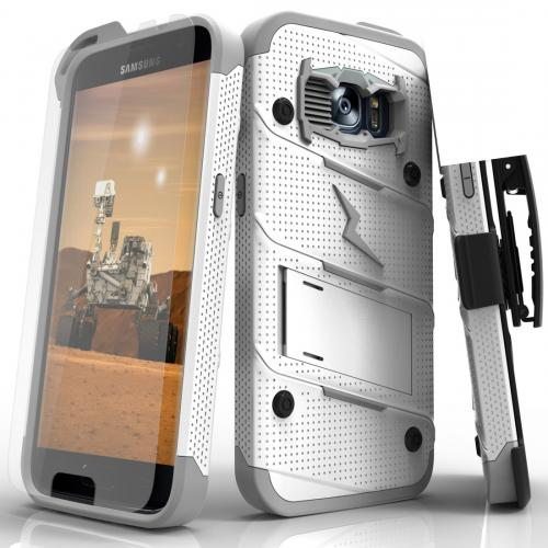 Samsung Galaxy S7 Case - [BOLT] Heavy Duty Cover w/ Kickstand, Holster, Tempered Glass Screen Protector & Lanyard [White/Gray]