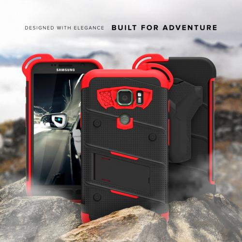 Samsung Galaxy S7 Active Case - [BOLT] Heavy Duty Cover w/ Kickstand, Holster, Tempered Glass Screen Protector & Lanyard [Black/ Red]
