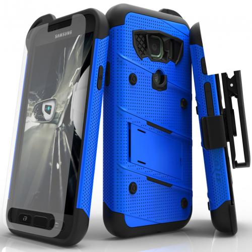 Samsung Galaxy S7 Active Case - [BOLT] Heavy Duty Cover w/ Kickstand, Holster, Tempered Glass Screen Protector & Lanyard [Blue/ Black]