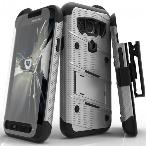 Samsung Galaxy S7 Active Case - [BOLT] Heavy Duty Cover w/ Kickstand, Holster, Tempered Glass Screen Protector & Lanyard [Gray/ Black]