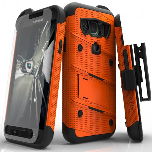 Samsung Galaxy S7 Active Case - [BOLT] Heavy Duty Cover w/ Kickstand, Holster, Tempered Glass Screen Protector & Lanyard [Orange/ Black]
