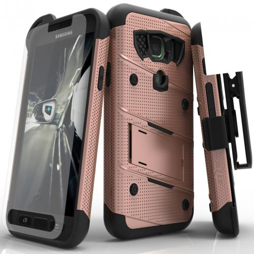 Samsung Galaxy S7 Active Case - [BOLT] Heavy Duty Cover w/ Kickstand, Holster, Tempered Glass Screen Protector & Lanyard [Rose Gold/ Black]