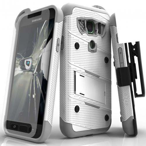 Samsung Galaxy S7 Active Case - [BOLT] Heavy Duty Cover w/ Kickstand, Holster, Tempered Glass Screen Protector & Lanyard [White/ Gray]