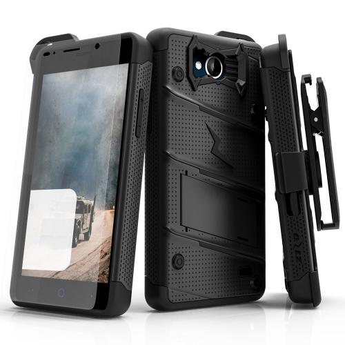 [ZTE Tempo] Case - [BOLT] Heavy Duty Cover w/ Kickstand, Holster, Tempered Glass Screen Protector & Lanyard [Black]