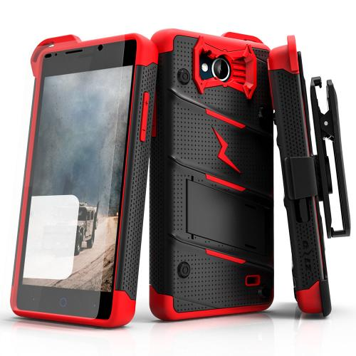 [ZTE Tempo] Case - [BOLT] Heavy Duty Cover w/ Kickstand, Holster, Tempered Glass Screen Protector & Lanyard [Black/ Red]
