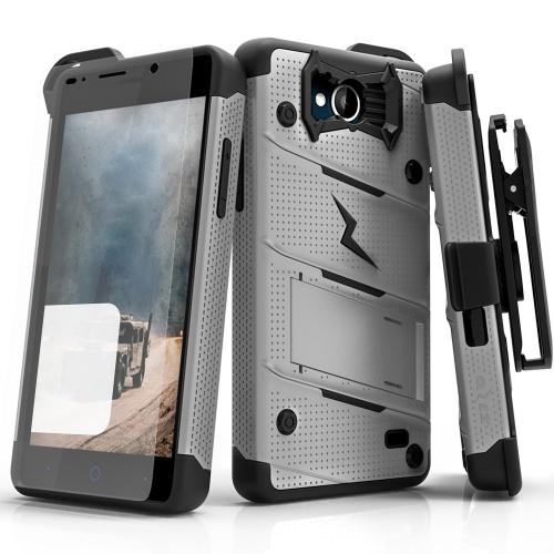 [ZTE Tempo] Case - [BOLT] Heavy Duty Cover w/ Kickstand, Holster, Tempered Glass Screen Protector & Lanyard [Gray/ Black]