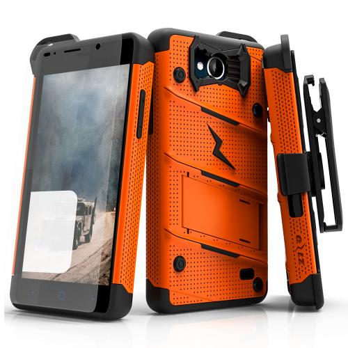 [ZTE Tempo] Case - [BOLT] Heavy Duty Cover w/ Kickstand, Holster, Tempered Glass Screen Protector & Lanyard [Orange/ Black]