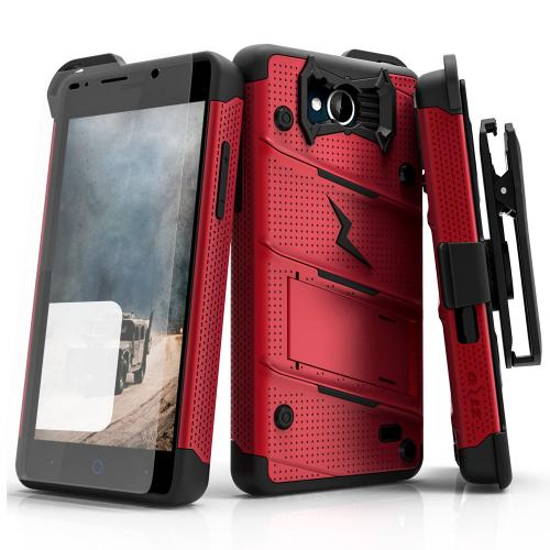 [ZTE Tempo] Case - [BOLT] Heavy Duty Cover w/ Kickstand, Holster, Tempered Glass Screen Protector & Lanyard [Red/ Black]