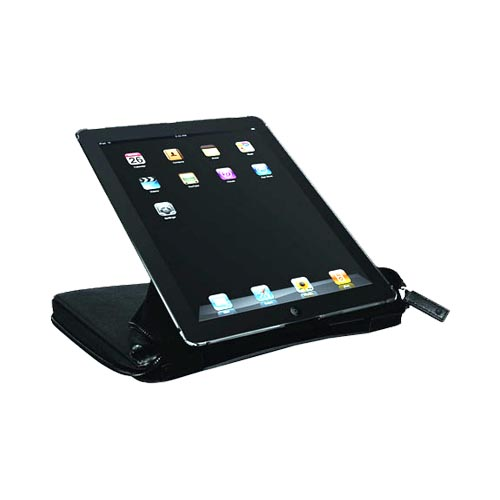 Original Macally Apple iPad 2nd Gen Premium Leather Organizer Case, BOOKSTANDPRO2 - Black