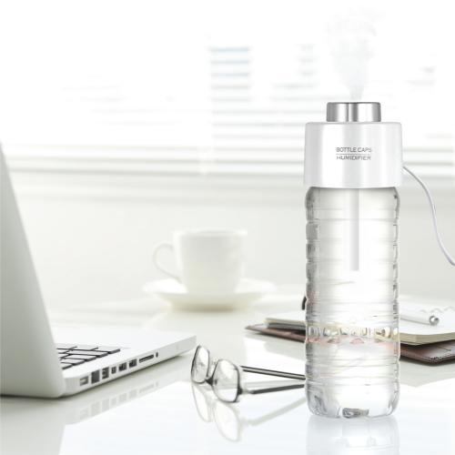 USB Portable ABS Water Bottle Cap Humidifier w/ Aroma Diffuser [White]