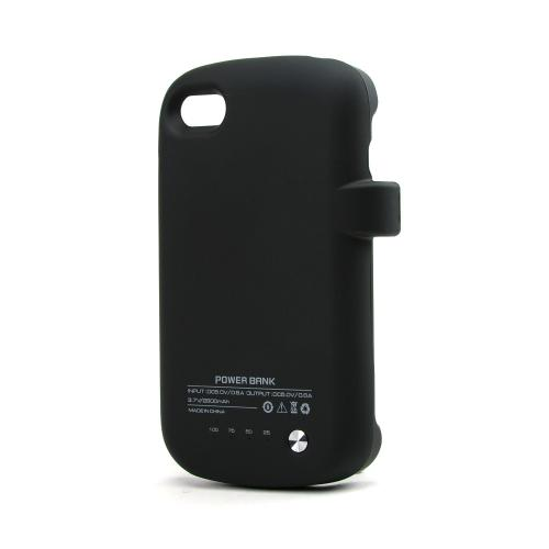 Black Rubberized Hard Charging Case for Blackberry Q10 (2800 mAh)