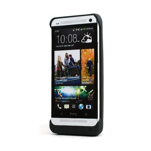 Black Rubberized Hard Charging Case w/ Kickstand for HTC One (3000 mAh)