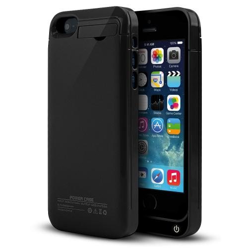 Black Hard Charging Case w/ Kickstand & Integrated Lightning Port for Apple iPhone 5/5S/5C - 2000 mAh