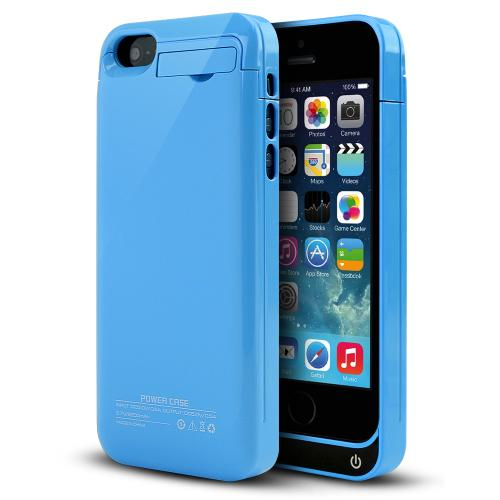 Apple iPhone SE / 5 / 5S Charging Case,  [Sky Blue]  Kickstand & Integrated Lightning Port - 2000 mAh