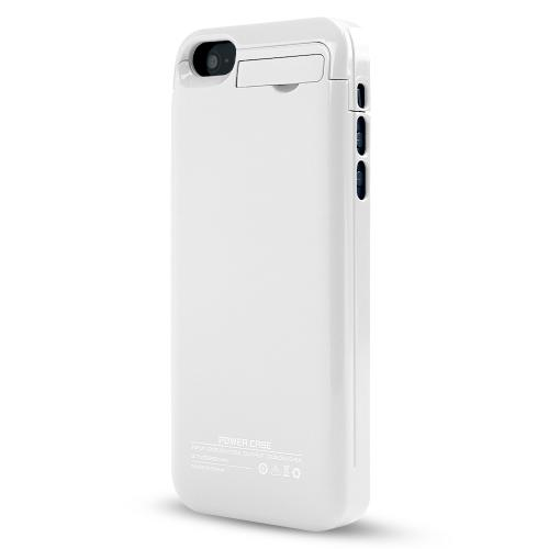 White Hard Charging Case w/ Kickstand & Integrated Lightning Port for Apple iPhone 5/5S/5C - 2000 mAh