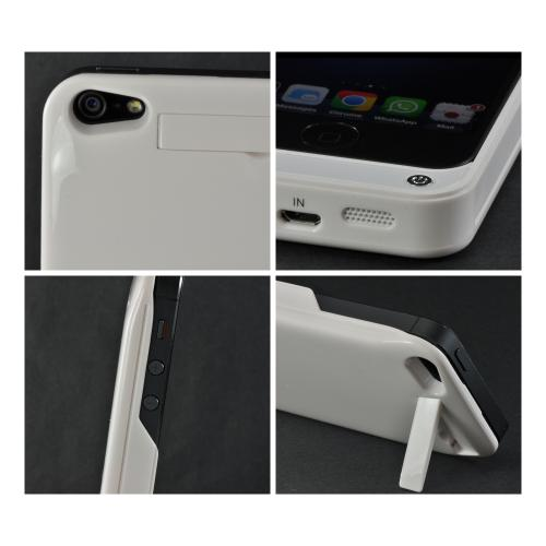 White Hard Charging Case for Apple iPhone 5/5S w/ Kickstand (2000 mAh)