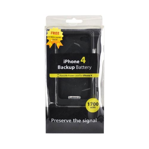 Apple iPhone 4/4S Backup Battery Rubberized Case w/ USB Data Cable(1700 mAh) - Black
