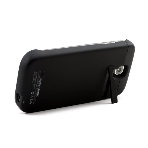 Black Rubberized Hard Charging Case w/ Kickstand for Samsung Galaxy S4 (3200 mAh)