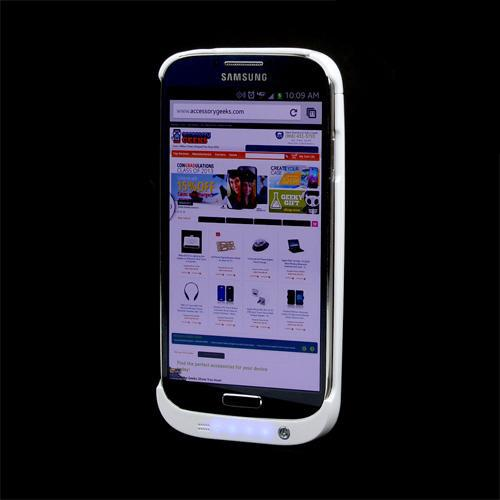 White Hard Charging Case w/ Kickstand for Samsung Galaxy S4 (3200 mAh)