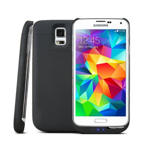 Black Rubberized Hard Charging Case w/ Kickstand for Samsung Galaxy S5 - 3500 mAh
