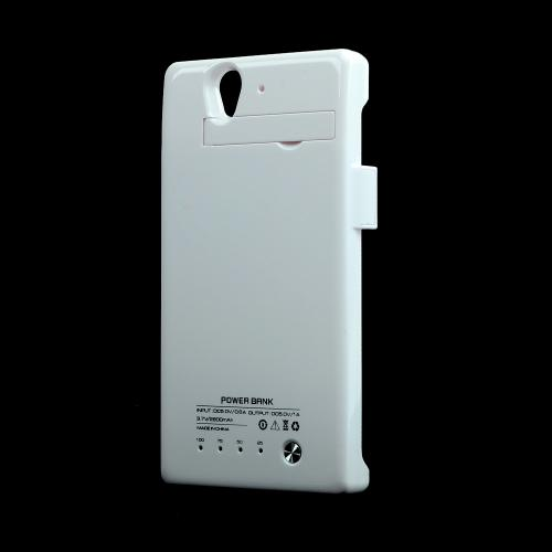 White Glossy Hard Charging Case w/ Kickstand for Sony Xperia Z (2800 mAh)