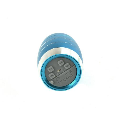Blue Mini Metal Portable Rechargable Speaker w/ Micro SD Port