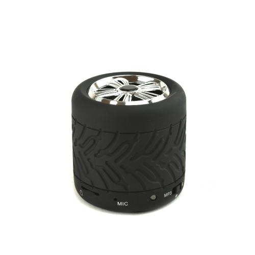 Black/ Silver Tire Wheel Universal Portable Bluetooth & MP3 Speaker w/ Micro SD Port