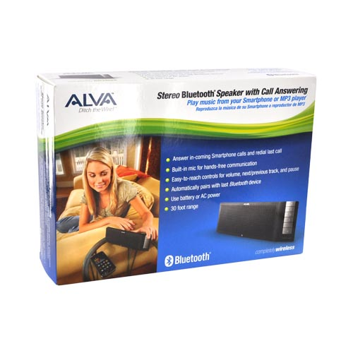 Original Azeca (formerly known as Alva) Bluetooth Stereo Speaker w/ Call Answering, BTS001 - Black