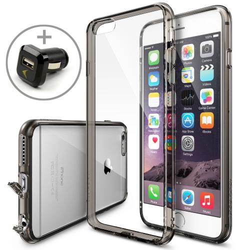 Apple iPhone 6 PLUS/6S PLUS (5.5 inch) Bundle - Ringke Fusion Bumper [Smoke] Premium Hybrid Case w/ Free Screen Protector & USB Car Charger Adapter