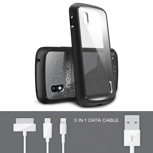 Google Nexus 4 Bundle - Ringke Fusion Bumper [Black] Premium Hybrid Case w/ Free Screen Protector & Data Cable
