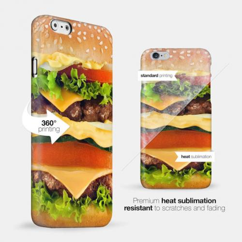 [Burger] Custom Printed Heat Sublimation Design Hard Plastic Case Cover for Apple iPhone 5C w/ Free Screen Protector!