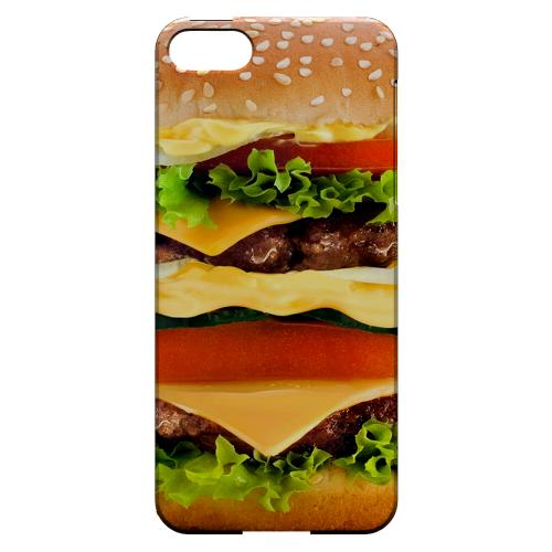 [Burger] Custom Printed Heat Sublimation Design Hard Plastic Case Cover for Apple iPhone 5/5S w/ Free Screen Protector!