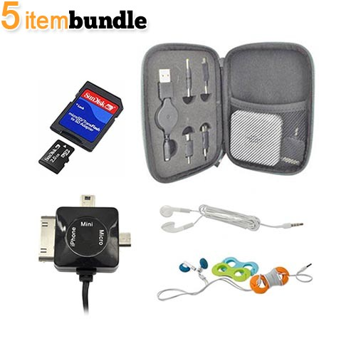 Business Trip Essential Bundle Package w/ USB to Micro USB/ Mini USB/ iPhone Retractable Data Cable, Universal Portable Charger (1700 mAh), 2GB Micro SD Memory Card, Cord Organizer, and 3.5mm Universal Earbud Headset