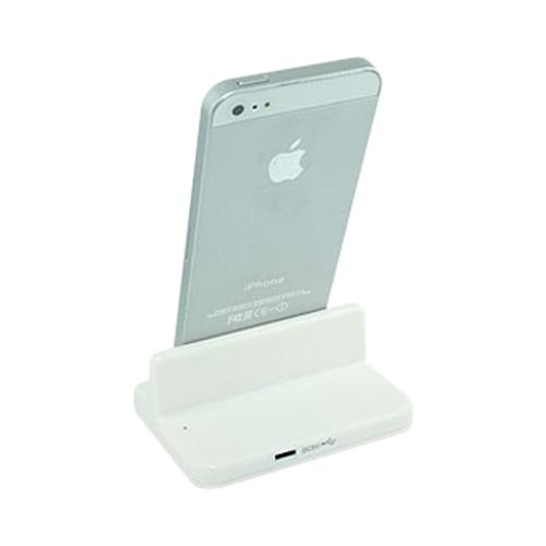 White Desktop Cradle w/ Lightning Port for Apple iPhone 5/5S/ iPod Touch 5/ iPad Mini/ New iPad