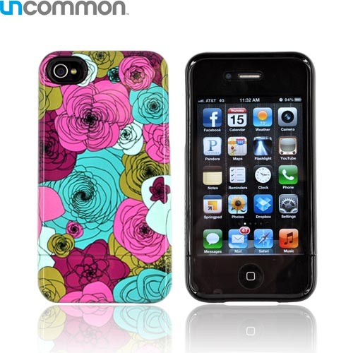 Original Uncommon AT&T/ Verizon Apple iPhone 4, iPhone 4S Slide-On Hard Case - Hot Pink/Turquoise/ Magenta Floral Spirals