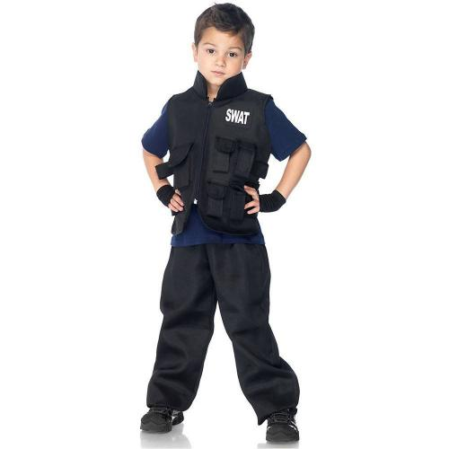 LegAvenue Halloween Costume For Kids [M] SWAT Commander, Utility Vest w/ Badge Detail And Fingerless Gloves (2 PC)