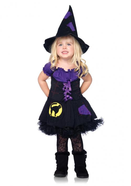 LegAvenue Halloween Costume For Kids [M] Black Cat Witch, Patchwork Peasant Dress And Matching Hat (2 PC)