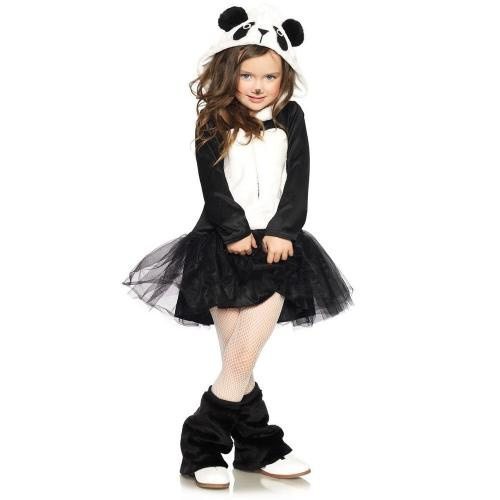 LegAvenue Halloween Costume For Kids [L] Pretty Panda, Zip-Up Petticoat Dress w/ Plush Panda Hood