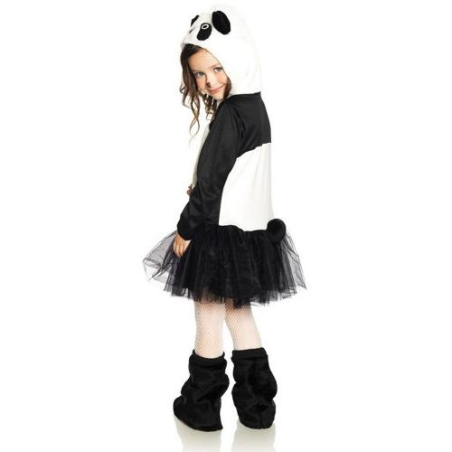 LegAvenue Halloween Costume For Kids [M] Pretty Panda, Zip-Up Petticoat Dress w/ Plush Panda Hood