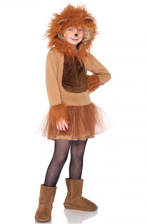 LegAvenue Halloween Costume For Kids [M] Cuddly Lion, Zipper Front Petticoat Dress w/ Fur Trimmed Sleeves And Attached Furry Lion Mane Hood