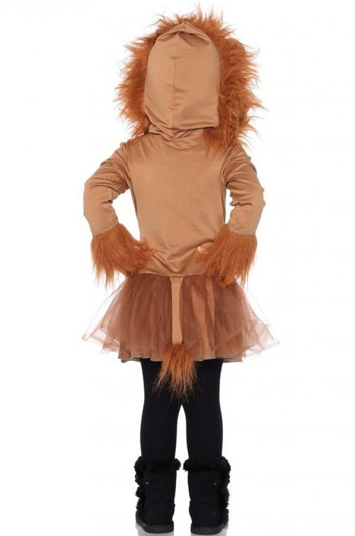 LegAvenue Halloween Costume For Kids [XS] Cuddly Lion, Zipper Front Petticoat Dress w/ Fur Trimmed Sleeves And Attached Furry Lion Mane Hood