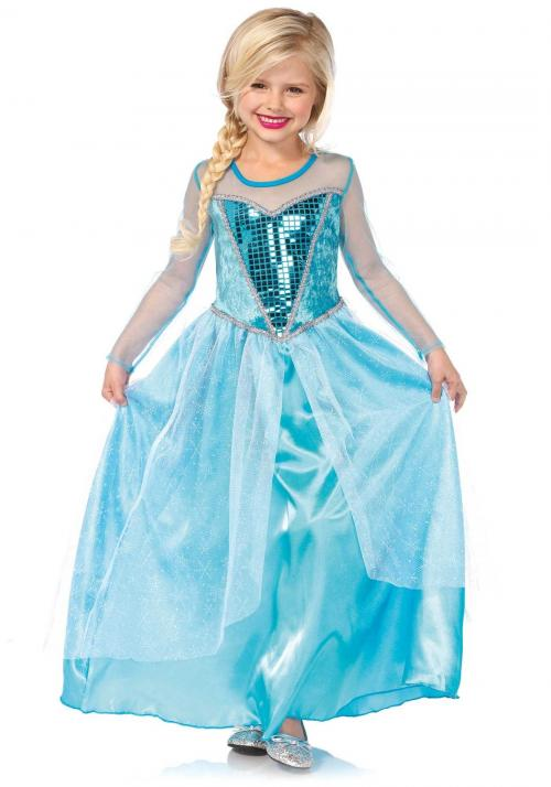 LegAvenue Halloween Costume For Kids [M] Fantasy Snow Queen, Long Dress w/ Sequin Bodice And Glitter Snowflake Skirt Overlay