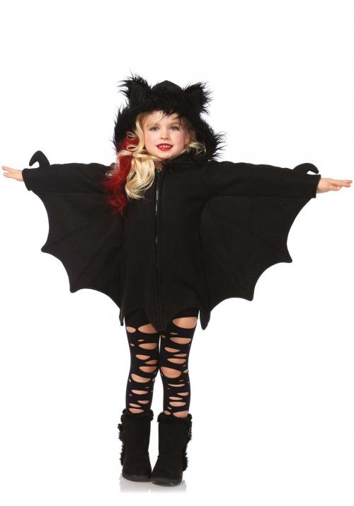 LegAvenue Halloween Costume For Kids [M] Cozy Bat, Zipper Front Fleece Dress w/ Awesome Bat Wing Sleeves And Furry Ear Hood